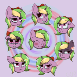 Size: 2000x2000 | Tagged: artist:lux-arume, emotions, expressions, female, oc, oc only, oc:sparkly breeze, pony, safe, unicorn