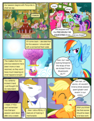 Size: 612x792 | Tagged: applejack, artist:newbiespud, background pony, bipedal, canterlot, cloud, comic, comic:friendship is dragons, dialogue, earth pony, edited screencap, eyes closed, female, flying, freckles, grin, hat, hot air balloon, looking down, male, mare, pinkie pie, pony, ponyville, prince blueblood, rainbow dash, rarity, safe, screencap, screencap comic, smiling, spike, stallion, sun, the best night ever, twilight sparkle, unicorn, unicorn twilight