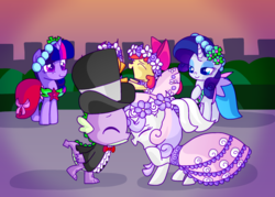Size: 2166x1549 | Tagged: a canterlot wedding, apple bloom, artist:andromedasparkz, bridesmaid, bridesmaid dress, bridesmaids, clothes, dancing, dragon, dress, earth pony, female, filly, floral head wreath, flower, flower filly, flower girl, flower girl dress, hat, kissing, male, mare, marriage, pegasus, pony, rarity, safe, scootaloo, shipping, spike, spikebelle, straight, sweetie belle, top hat, tuxedo, twilight sparkle, unicorn, unicorn twilight, wedding