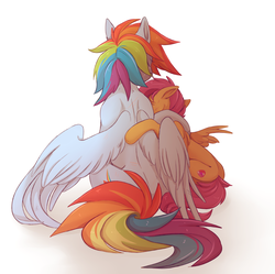 Size: 2785x2777 | Tagged: safe, artist:1an1, rainbow dash, scootaloo, pegasus, pony, back, backwards cutie mark, behind, crying, cutie mark, digital art, duo, female, filly, gradient background, hug, mare, scar, scootalove, wings