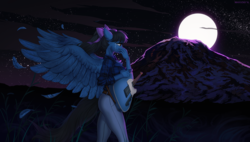 Size: 1800x1023 | Tagged: anthro, anthro oc, artist:margony, bow, clothes, commission, crying, feather, female, guitar, hair bow, jeans, mare, moon, mountain, musical instrument, night, oc, oc only, oc:strumbeat strings, pants, pegasus, rule 63, safe, shirt, solo, spread wings, starry night, stars, teary eyes, wings