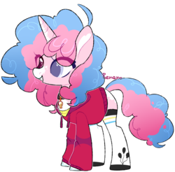 Size: 2415x2372 | Tagged: artist:amelia007layt, choker, clothes, female, grin, heterochromia, hoodie, mare, markings, oc, oc:bubble balloon, oc only, offspring, parent:party favor, parent:pinkie pie, parents:partypie, pony, safe, shirt, simple background, smiling, socks, solo, transparent background, t-shirt, unicorn, unshorn fetlocks