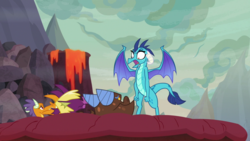 Size: 1920x1080 | Tagged: billy (dragon), clump, dragon, princess ember, safe, screencap, spoiler:s09e09, sweet and smoky
