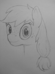 Size: 3072x4096 | Tagged: applejack, artist:skelmach, bust, earth pony, looking at you, missing accessory, monochrome, pencil drawing, pony, portrait, safe, smiling, solo, traditional art