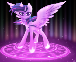 Size: 7000x5700 | Tagged: absurd res, alicorn, artist:kids-in-the-corner, female, glow, looking at you, magic, magic circle, mare, pony, runes, safe, solo, standing, twilight sparkle, wings