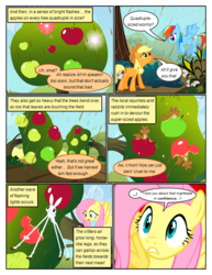 Size: 612x792 | Tagged: animal, apple, artist:newbiespud, chaos, chocolate, chocolate rain, comic, comic:friendship is dragons, dialogue, earth pony, eating, edited screencap, female, flying, food, freckles, girabbit, hat, looking down, looking up, mare, pegasus, pony, rabbit, rain, rainbow dash, safe, screencap, screencap comic, squirrel, the return of harmony, transformation, tree, wide eyes, worried
