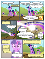 Size: 612x792 | Tagged: applejack, artist:newbiespud, blast, book, chocolate, chocolate rain, comic, comic:friendship is dragons, dialogue, dragon, earth pony, edited screencap, eyes closed, female, food, freckles, glowing horn, hat, horn, magic, magic beam, magic blast, male, mare, pony, rain, sad, safe, screencap, screencap comic, slit eyes, smiling, smirk, spike, telekinesis, the return of harmony, twilight sparkle, unicorn, unicorn twilight