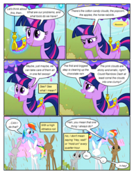 Size: 612x792 | Tagged: ..., animal, artist:newbiespud, comic, comic:friendship is dragons, cotton candy, dialogue, eating, edited screencap, eyes closed, female, flying, frown, looking up, magic, mare, pegasus, pony, rabbit, rainbow dash, saddle, safe, screencap, screencap comic, smiling, stuck, tack, telekinesis, the return of harmony, thinking, twilight sparkle, umbrella, unicorn, unicorn twilight