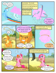 Size: 612x792 | Tagged: ..., angry, applejack, artist:newbiespud, chocolate, chocolate milk, cloud, comic, comic:friendship is dragons, cotton candy, dialogue, earth pony, eating, edited screencap, eyes closed, female, flying, freckles, glare, gritted teeth, hat, implied rarity, implied twilight sparkle, lasso, licking, licking lips, looking up, mare, messy eating, messy mane, milk, motion blur, mouth hold, open mouth, pegasus, pinkie pie, pony, puffy cheeks, rainbow dash, rope, safe, screencap, screencap comic, the return of harmony, tongue out, wet mane