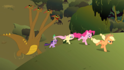Size: 2100x1181 | Tagged: safe, screencap, applejack, fluttershy, pinkie pie, spike, twilight sparkle, dragon, earth pony, hydra, pegasus, pony, unicorn, feeling pinkie keen, female, fleeing, froggy bottom bog, galloping, implied anal, implied horn penetration, implied penetration, lidded eyes, male, mare, multiple heads, swamp, tree, unicorn twilight