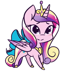 Size: 1100x1200 | Tagged: safe, artist:lilliesinthegarden, princess cadance, alicorn, pony, bow, chibi, crown, cute, cutedance, female, heart eyes, jewelry, mare, regalia, simple background, solo, tail bow, white background, wingding eyes