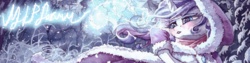 Size: 1000x250 | Tagged: safe, princess platinum, rarity, pony, hearth's warming eve (episode), banner, blushing, clothes, coat, mlpforums, outfit, snow, solo
