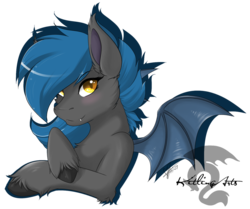 Size: 978x817 | Tagged: safe, artist:kitlingarts, oc, oc only, oc:speck, bat pony, pony, bat pony oc, blushing, bust, cheek fluff, chest fluff, ear fluff, female, leg fluff, simple background, solo, transparent background, unshorn fetlocks, watermark
