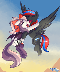 Size: 2655x3183 | Tagged: artist:xwhitedreamsx, bat pony, cloud, commission, female, flying, hug, male, mare, oc, oc only, oc:smooth walker, oc:sweet velvet, pegasus, pony, safe, stallion