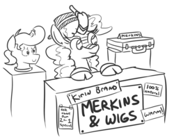 Size: 744x596 | Tagged: artist:jargon scott, black and white, cloven hooves, female, hat, kirin, lineart, merkin, monochrome, quadrupedal, safe, saleskirin, salespony, simple background, solo, vendor stall, white background, wig