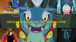 Size: 1280x720 | Tagged: cozy glow, crown, edit, edited screencap, four horsemen of the apocalypse, grogar, horseman of conquest, horseman of death, horseman of famine, horseman of war, jewelry, king sombra, legion of doom, lord tirek, queen chrysalis, regalia, safe, school raze, screencap, spoiler:s09e02, text, the beginning of the end, the crystal empire, the mean 6, twilight's kingdom