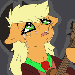 Size: 1563x1563 | Tagged: applejack, artist:brainiac, crying, derpibooru exclusive, guitar, musical instrument, safe, solo