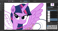 Size: 1920x1017 | Tagged: alicorn, artist:n3ro 182, digital art, horn, krita, safe, solo, twilight sparkle, twilight sparkle (alicorn), wings, wip