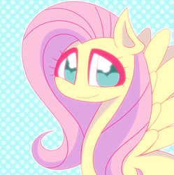 Size: 820x822 | Tagged: artist:mm_puyo, cute, female, fluttershy, mare, pegasus, polka dots, pony, safe, shyabetes, solo