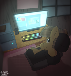 Size: 733x790 | Tagged: computer, digital artist, earth pony, keyboard, male, nutty, nutty stallion, oc, pc, perspective, pony, safe, solo, stallion