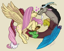 Size: 1000x800 | Tagged: artist:sharkyskadi, discord, discoshy, draconequus, female, fluttershy, heart, male, mare, nuzzling, pegasus, pony, safe, shipping, simple background, spread wings, straight, wings