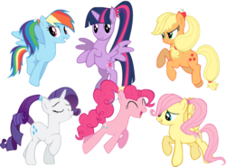 Size: 870x645 | Tagged: alicorn, alternate hairstyle, applejack, artist:winxflorabloomroxy, cute, dashabetes, diapinkes, earth pony, eyes closed, female, fluttershy, happy, jackabetes, jumping, looking at you, mane six, mare, open mouth, pegasus, pegasus wings, pinkie pie, pony, ponytail, rainbow dash, raised hoof, raribetes, rarity, safe, shyabetes, simple background, spread wings, transparent background, twiabetes, twilight sparkle, twilight sparkle (alicorn), unicorn, wings