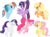 Size: 870x645 | Tagged: safe, artist:winxflorabloomroxy, applejack, fluttershy, pinkie pie, rainbow dash, rarity, twilight sparkle, alicorn, earth pony, pegasus, pony, unicorn, alternate hairstyle, cute, dashabetes, diapinkes, eyes closed, female, happy, jackabetes, jumping, looking at you, mane six, mare, open mouth, pegasus wings, ponytail, raised hoof, raribetes, shyabetes, simple background, spread wings, transparent background, twiabetes, twilight sparkle (alicorn), wings