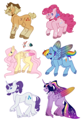 Size: 730x1095 | Tagged: alicorn, alternate hairstyle, applejack, artist:flowercatbutters, coat markings, cutie mark, earth pony, ethereal mane, female, fluttershy, headcanon in the description, leonine tail, mane six, mare, pegasus, pinkie pie, pony, rainbow dash, rainbow power, raised hoof, rarity, redesign, safe, scar, simple background, size comparison, smiling, starry mane, transparent background, twilight sparkle, twilight sparkle (alicorn), unicorn, unshorn fetlocks