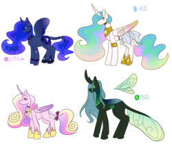 Size: 965x828 | Tagged: alicorn, artist:flowercatbutters, bow, changeling, changeling queen, clothes, collar, curved horn, cutie mark, ethereal mane, female, headcanon in the description, horn, jewelry, leonine tail, mare, missing cutie mark, pony, princess cadance, princess celestia, princess luna, queen chrysalis, redesign, regalia, safe, see-through, see-through skirt, simple background, size comparison, skirt, starry mane, tail bow, transparent background
