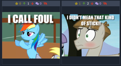Size: 505x274 | Tagged: bedroom eyes, blushing, caption, derpibooru, derpy hooves, image macro, juxtaposition, juxtaposition win, maud pie, meme, meta, rainbow dash, safe, text, the maud couple