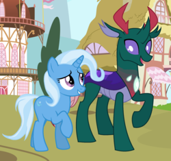 Size: 1575x1479 | Tagged: artist:princessyanderequinn, artist:thepegasisterpony, base used, changedling, changeling, female, male, mare, one hoof raised, phartrix, pharynx, pony, prince pharynx, safe, shipping, straight, trixie, unicorn