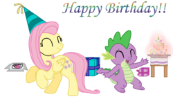 Size: 1183x675 | Tagged: artist:majkashinoda626, birthday, dragon, female, fluttershy, happy birthday, male, mare, pegasus, pony, present, safe, show accurate, simple background, spike, spike's birthday, transparent background, vector