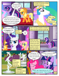 Size: 612x792 | Tagged: alicorn, applejack, artist:newbiespud, big crown thingy, bipedal, comic, comic:friendship is dragons, dialogue, discord, draconequus, earth pony, edited screencap, ethereal mane, eyes closed, female, fluttershy, freckles, frown, hat, implied rainbow dash, jewelry, laughing, mare, pegasus, petrification, pinkie pie, pony, princess celestia, raised hoof, rarity, regalia, safe, screencap, screencap comic, smiling, smirk, statue, the return of harmony, twilight sparkle, unicorn, unicorn twilight, worried