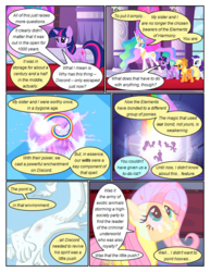 Size: 612x792 | Tagged: alicorn, applejack, artist:newbiespud, big crown thingy, comic, comic:friendship is dragons, dialogue, discord, draconequus, earth pony, edited screencap, ethereal mane, female, fluttershy, flying, freckles, hat, jewelry, looking up, mane six, mare, pegasus, petrification, pinkie pie, pony, rainbow, rainbow dash, rarity, regalia, safe, screencap, screencap comic, statue, the return of harmony, twilight sparkle, unicorn, unicorn twilight, worried