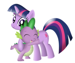 Size: 972x822 | Tagged: artist:tgolyi, cute, dragon, female, hug, male, mare, pony, safe, show accurate, simple background, spike, spikelove, transparent background, twilight sparkle, unicorn, unicorn twilight