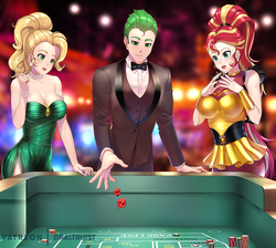 Size: 1200x1075 | Tagged: applejack, artist:draltruist, bowtie, bracelet, breasts, busty applejack, busty sunset shimmer, casino, cleavage, clothes, commission, dice, dress, female, gambling, human, humanized, human spike, jewelry, male, nail polish, necklace, pearl necklace, poker chips, safe, shirt, smiling, spike, sunset shimmer