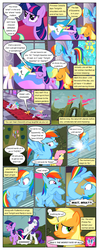 Size: 612x1553 | Tagged: ..., alicorn, applejack, artist:newbiespud, big crown thingy, comic, comic:friendship is dragons, dialogue, earth pony, earth pony twilight, edited screencap, ethereal mane, eyes closed, falling, female, fluttershy, freckles, glow, grin, hat, hedge maze, hoofy-kicks, jewelry, mane six, mare, pegasus, peytral, pinkie pie, pony, princess celestia, rainbow dash, rarity, rearing, regalia, running, safe, screencap, screencap comic, shocked, smiling, surprised, the return of harmony, twilight sparkle, unicorn, unicorn twilight, wingless, worried