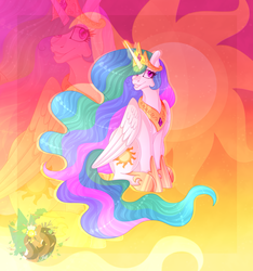 Size: 3000x3200 | Tagged: alicorn, artist:merienvip, crown, female, high res, hoof shoes, jewelry, magic, mare, pony, princess celestia, regalia, safe, sitting, smiling, solo, zoom layer