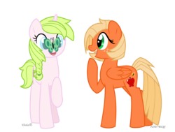 Size: 1041x787 | Tagged: adopted offspring, artist:faith-wolff, blind, butterfly, duo, freckles, hoof on chin, interdimensional siblings, kilalaverse, oc, oc:anthea, oc:applebee, offspring, parent:big macintosh, parent:fluttershy, parent:oc:azalea, parent:oc:berry vine, parents:fluttermac, parents:oc x oc, pegasus, pony, raised hoof, safe, simple background, transparent background, unicorn