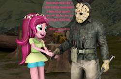 Size: 1651x1077 | Tagged: safe, artist:pika-robo, gloriosa daisy, equestria girls, camp everfree, clothes, forest, friday the 13th, gloves, hockey mask, jason voorhees, mask, spear, speech bubble, text, this will end in death, this will end in tears, this will end in tears and/or death, too dumb to live, weapon