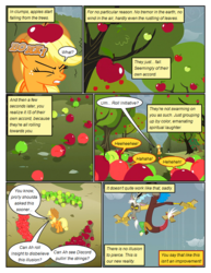 Size: 612x792 | Tagged: apple, artist:newbiespud, cloud, comic, comic:friendship is dragons, dialogue, discord, draconequus, earth pony, edited screencap, evil grin, eyes closed, female, food, freckles, grin, hat, hedge maze, keepers of the grove of truth, male, mare, marionette, onomatopoeia, pony, safe, screencap, screencap comic, smiling, the return of harmony, tree