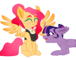 Size: 2500x2000 | Tagged: alicorn, artist:mewmoonar, baby carrier, draconequus, eyes closed, female, fluttershy, happy, horn, hybrid, interspecies offspring, next generation, oc, oc:serina concord shy, offspring, parent:discord, parent:fluttershy, parents:discoshy, pegasus, pony, safe, scared, simple background, smiling, story included, transparent background, twilight sparkle, twilight sparkle (alicorn), wings
