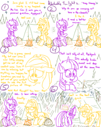 Size: 1280x1611 | Tagged: adorkable, adorkable twilight, alert, alicorn, applejack, artist:adorkabletwilightandfriends, bending, butt, campfire, camp ground, camping, camp site, comic, comic:adorkable twilight and friends, cute, dork, earth pony, fire, food, forest, humor, log, looking back, marshmallow, memories, nervous, night, plot, pony, safe, silence, sitting, slice of life, tent, tree, twilight sparkle, twilight sparkle (alicorn)