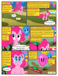 Size: 612x792 | Tagged: artist:newbiespud, balloon, comic, comic:friendship is dragons, dialogue, earth pony, edited screencap, eyes closed, female, grin, hedge maze, implied discord, mare, mud, onomatopoeia, pacman eyes, pony, pronk, safe, screencap, screencap comic, smiling, the return of harmony, wide eyes