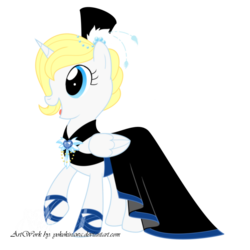 Size: 900x900 | Tagged: alicorn, alicorn oc, artist:yokokinawa, blue eyes, clothes, dress, gala dress, hat, jewelry, oc, oc:angel, safe, simple background, top hat, transparent background