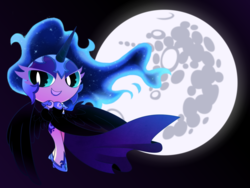 Size: 2000x1500 | Tagged: artist:yokokinawa, clothes, dress, ethereal mane, gloves, horn, horned humanization, human, humanized, long gloves, mare in the moon, moon, nightmare moon, safe, simple background, starry mane, the powerpuff girls, winged humanization, wings