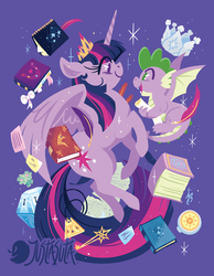 Size: 875x1125 | Tagged: alicorn, artist:justasuta, book, claws, compass, crown, dragon, dragon wings, duo, elements of harmony (book), fangs, female, friendship journal, hard-won helm of the sibling supreme, hooves, horn, jewelry, key, key of magic, lineless, mare, mystery box of plot importance, open mouth, pony, purple background, quill, regalia, safe, scorpan's necklace, scroll, simple background, smiling, sparkle's seven, spike, spoiler:s09e04, spread wings, twilight sparkle, twilight sparkle (alicorn), winged spike, wings