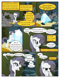 Size: 612x792 | Tagged: .., artist:newbiespud, comic, comic:friendship is dragons, dialogue, diamond, discord, dust, edit, edited screencap, eyes closed, female, frown, greedity, hedge maze, implied discord, laughing, looking up, mare, open mouth, pony, rarisnap, rarity, safe, screencap, screencap comic, sigh, sitting, smiling, the return of harmony, unicorn