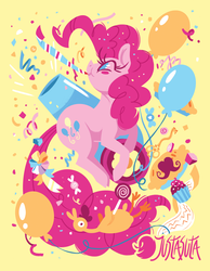 Size: 875x1125 | Tagged: artist:justasuta, balloon, blindfold, blushing, blush sticker, boneless, candy, confetti, cupcake, cute, diapinkes, earth pony, facial hair, food, key of laughter, lollipop, moustache, no pupils, party cannon, party horn, pie, pinkie pie, pony, ribbon, rock candy, safe, solo, somnambula's blindfold, streamers