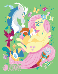 Size: 875x1125 | Tagged: safe, artist:justasuta, angel bunny, discord, fluttershy, bird, butterfly, draconequus, pegasus, pony, vampire fruit bat, blushing, bowtie, cup, female, goggles, green background, healer's mask, hooves, key of kindness, leaf, lineless, mare, mask, music notes, simple background, smiling, teacup, wings